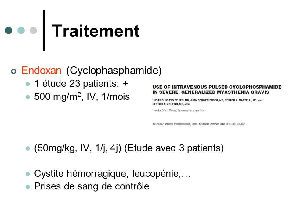 Traitement Endoxan (Cyclophasphamide) 1 étude 23 patients: +