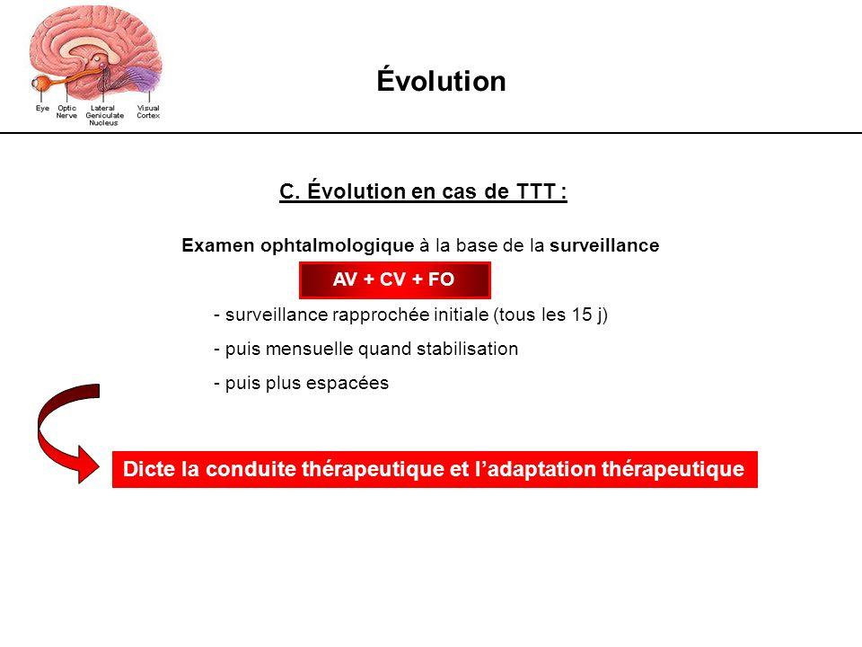 Évolution C. Évolution en cas de TTT :