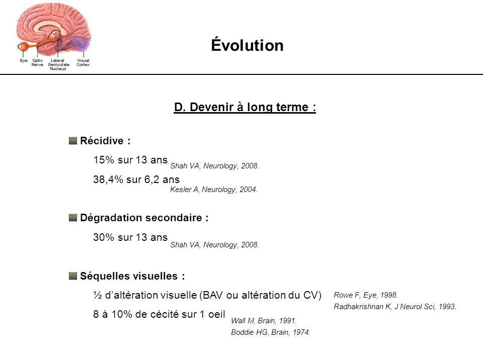 Évolution D. Devenir à long terme : Récidive : 15% sur 13 ans