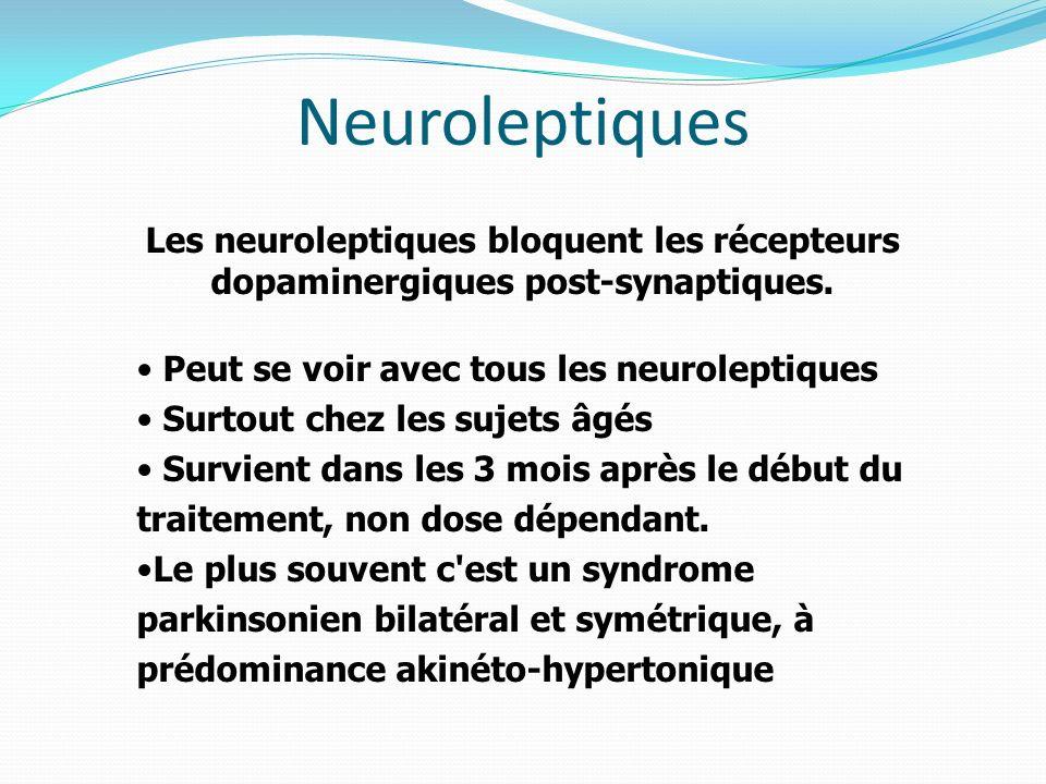 Neuroleptiques Les neuroleptiques bloquent les récepteurs dopaminergiques post-synaptiques. Peut se voir avec tous les neuroleptiques.