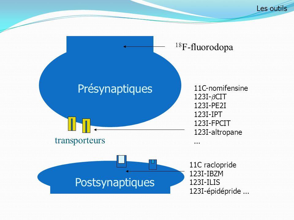 Présynaptiques Postsynaptiques 18F-fluorodopa transporteurs Les outils