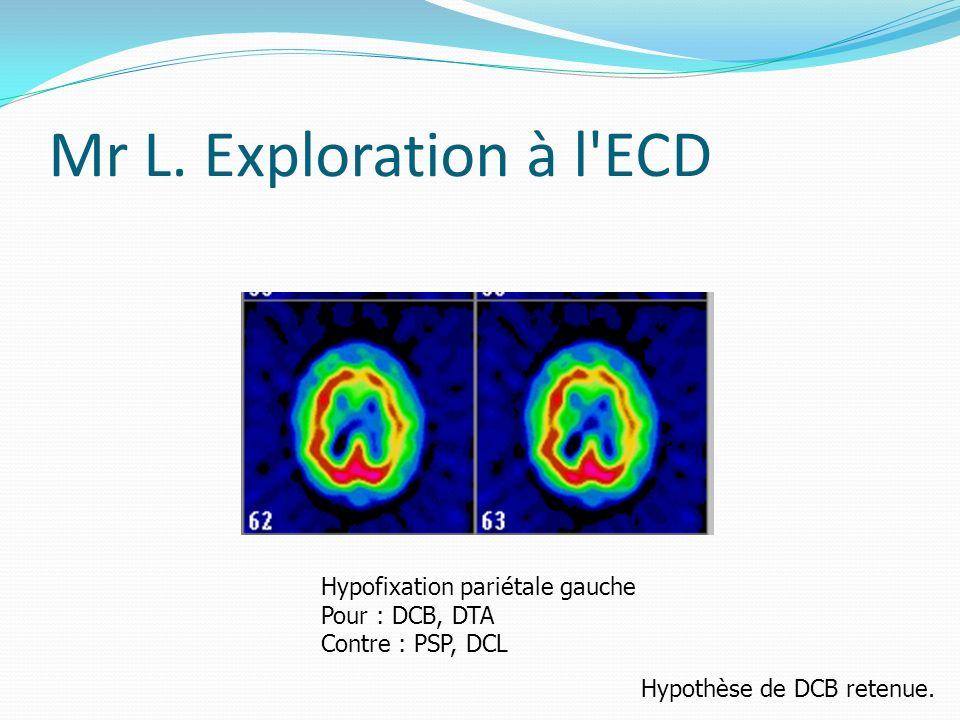 Mr L. Exploration à l ECD Hypofixation pariétale gauche