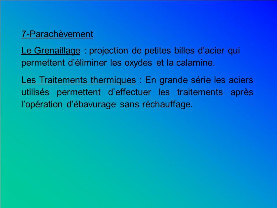 7-Parachèvement Le Grenaillage : projection de petites billes d'acier qui permettent d'éliminer les oxydes et la calamine.