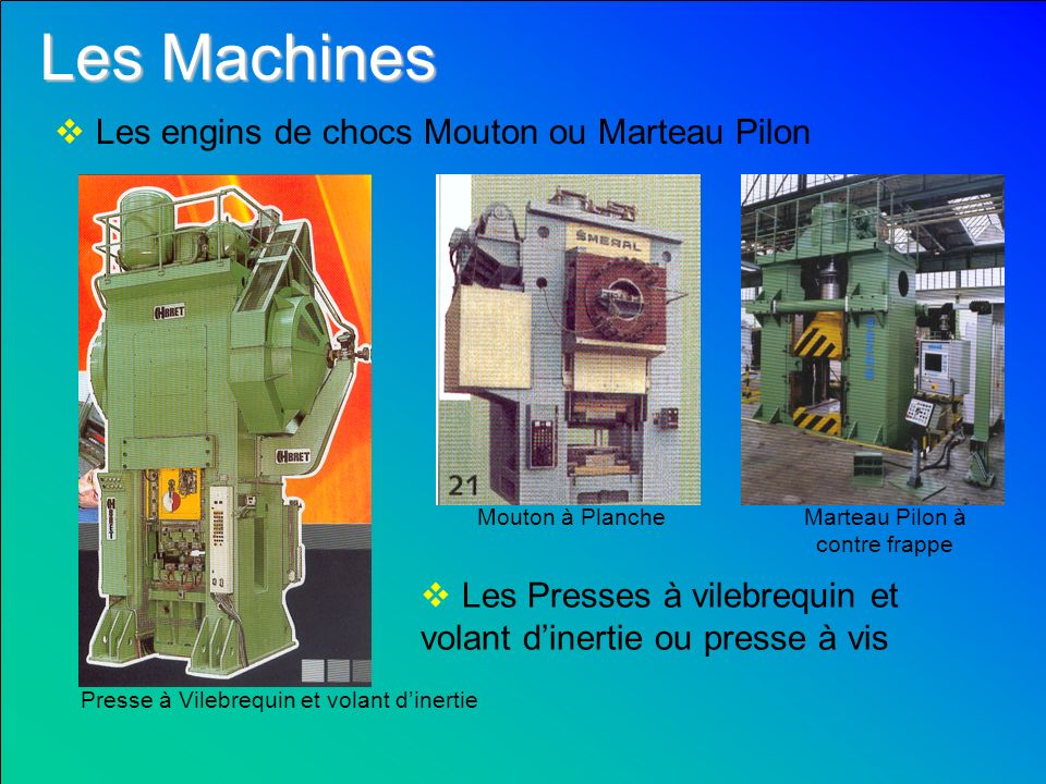 Les Machines Les engins de chocs Mouton ou Marteau Pilon