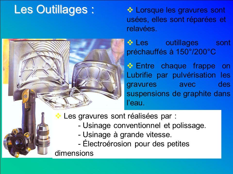 Les Outillages : Lorsque les gravures sont usées, elles sont réparées et relavées. Les outillages sont préchauffés à 150°/200°C.