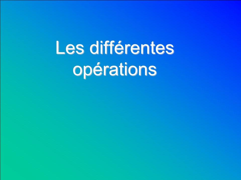 Les différentes opérations