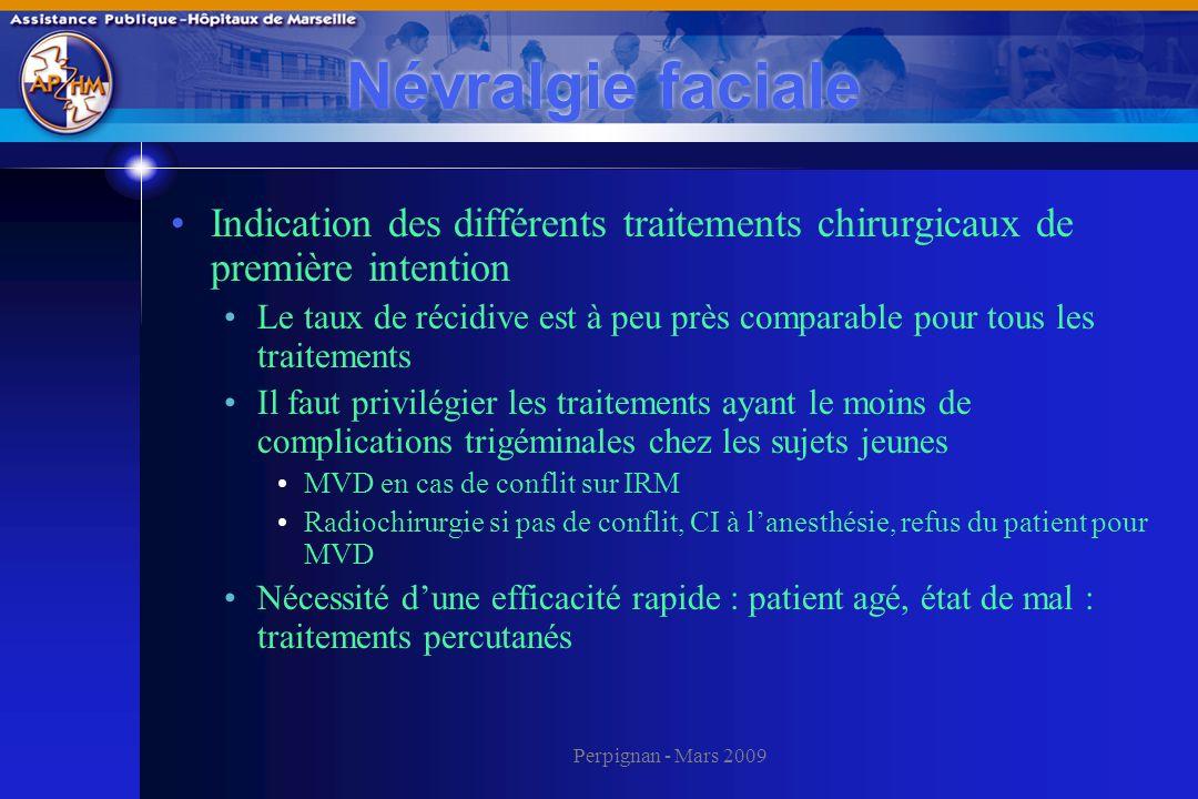 Névralgie faciale Indication des différents traitements chirurgicaux de première intention.