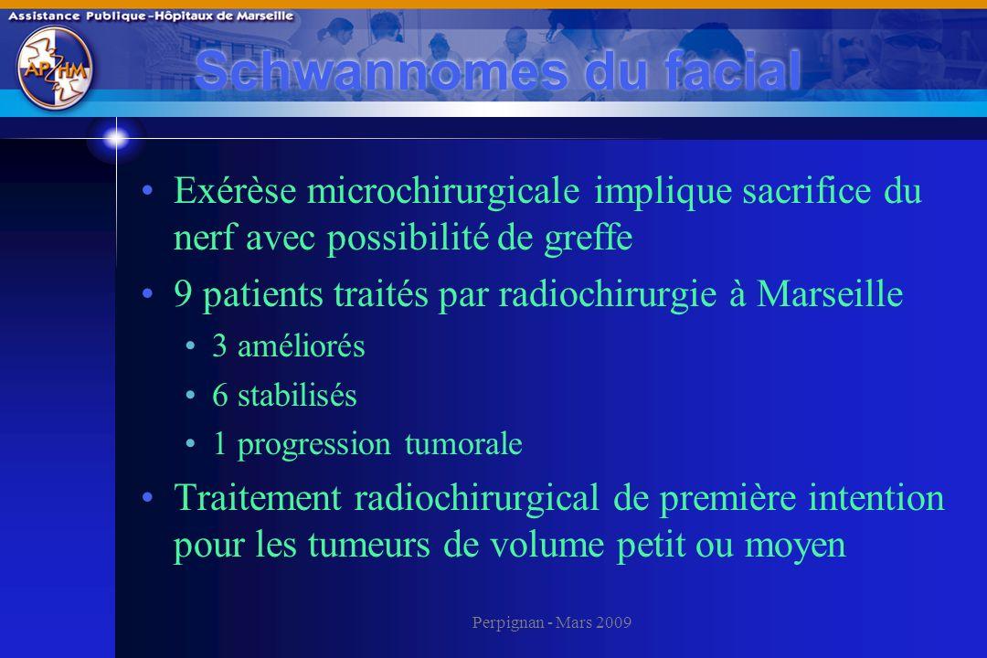 Schwannomes du facial Exérèse microchirurgicale implique sacrifice du nerf avec possibilité de greffe.