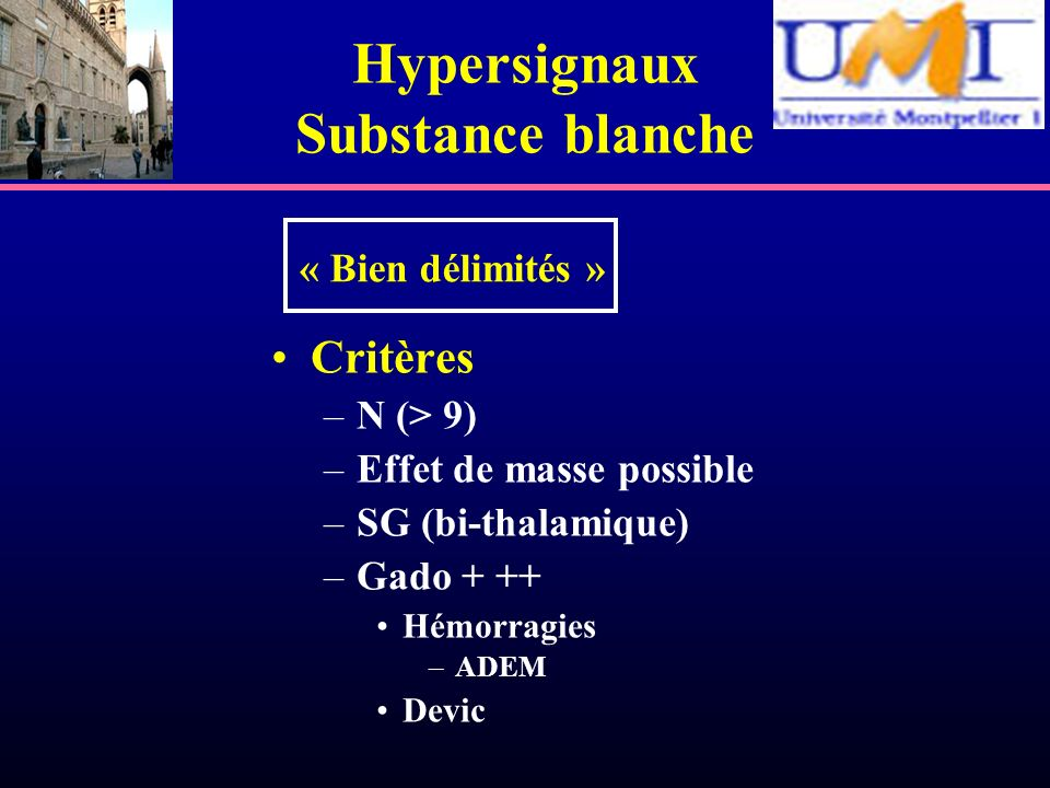 Hypersignaux Substance blanche