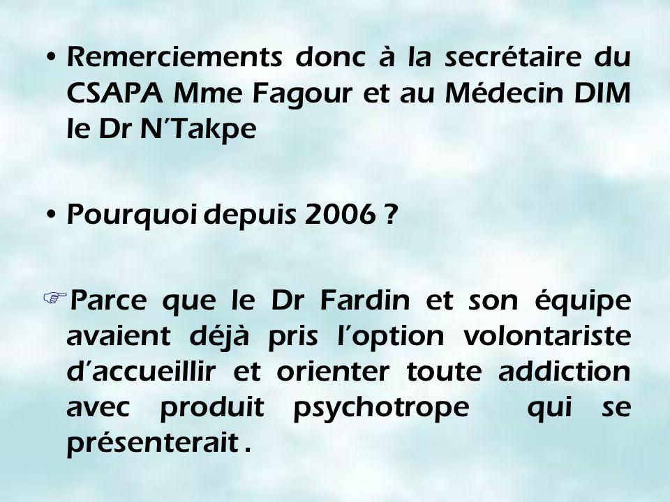 Remerciements donc à la secrétaire du CSAPA Mme Fagour et au Médecin DIM le Dr N'Takpe