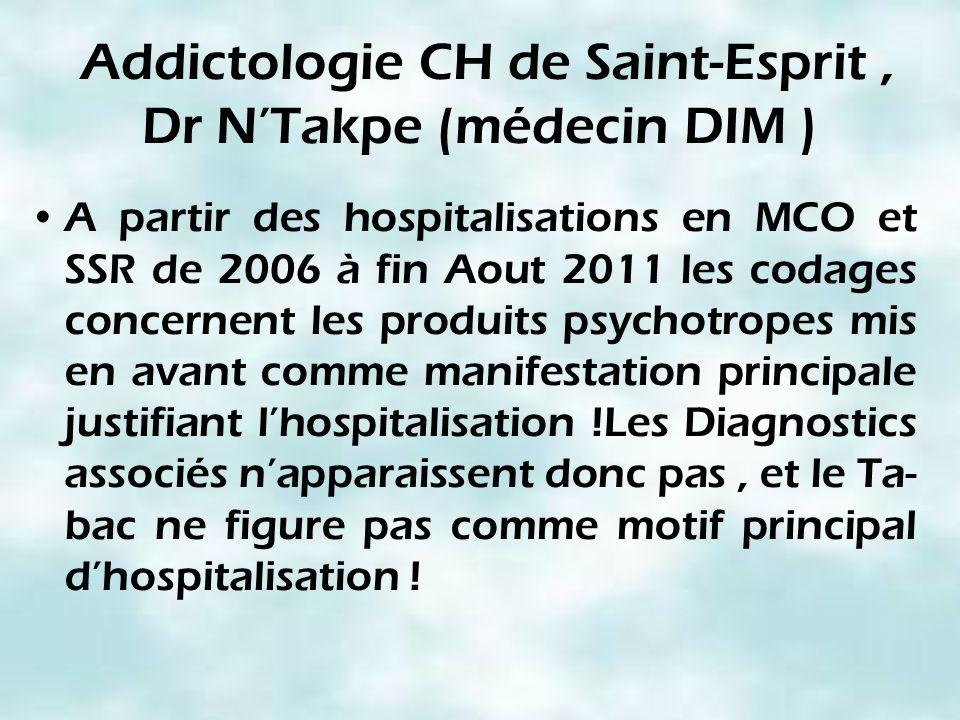 Addictologie CH de Saint-Esprit , Dr N'Takpe (médecin DIM )
