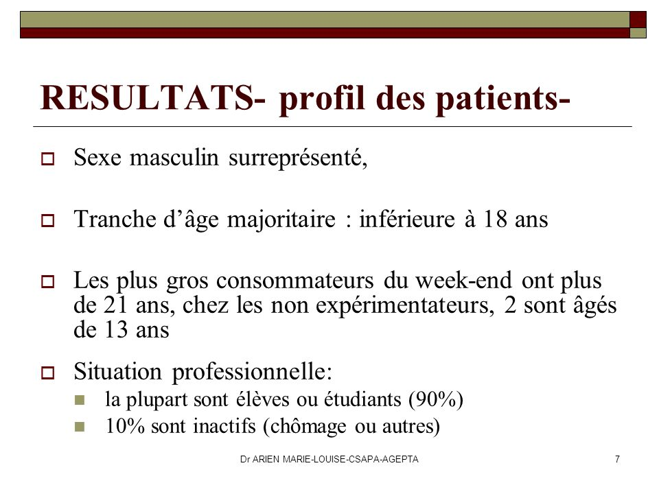 RESULTATS- profil des patients-