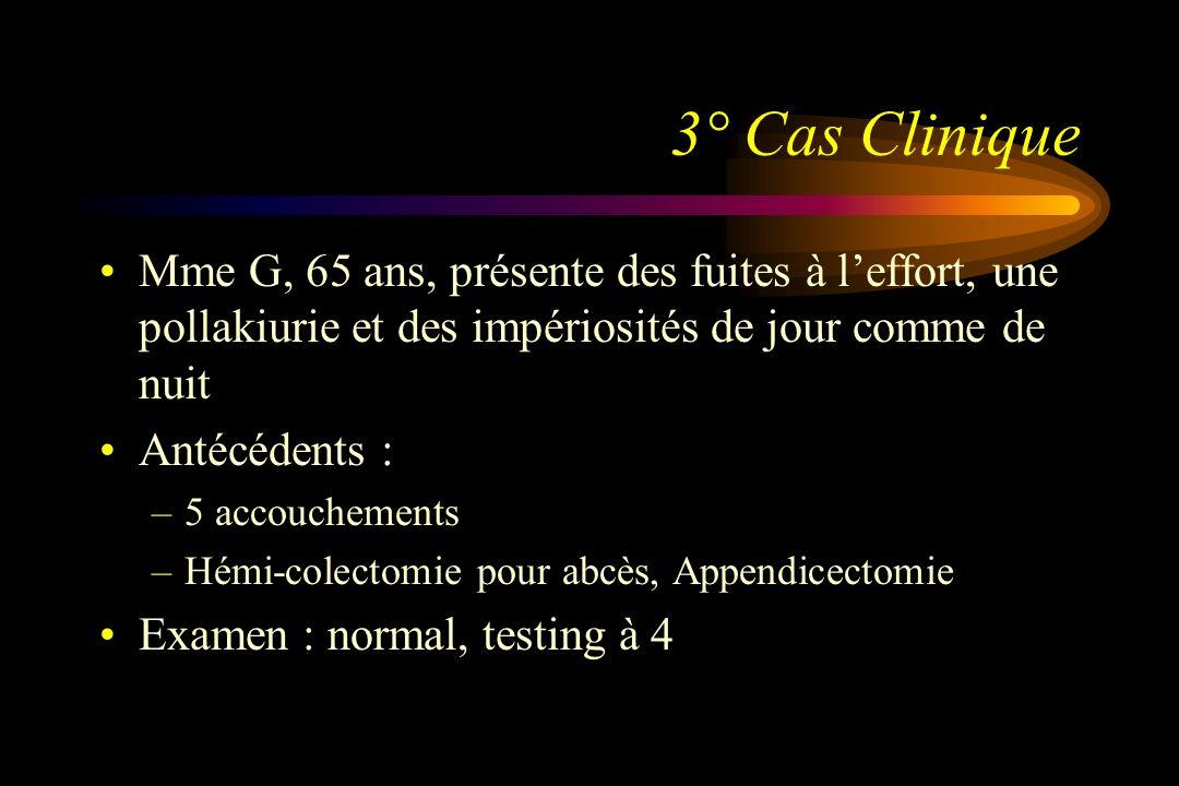 3° Cas Clinique Mme G, 65 ans, présente des fuites à l'effort, une pollakiurie et des impériosités de jour comme de nuit.
