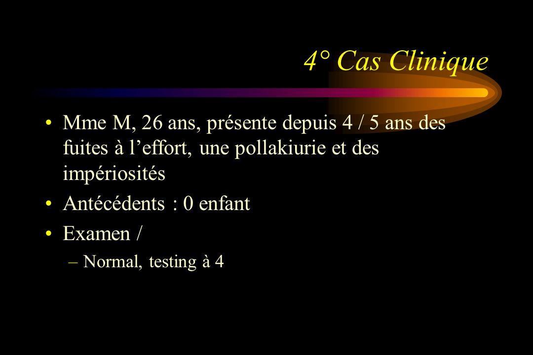 4° Cas CliniqueMme M, 26 ans, présente depuis 4 / 5 ans des fuites à l'effort, une pollakiurie et des impériosités.