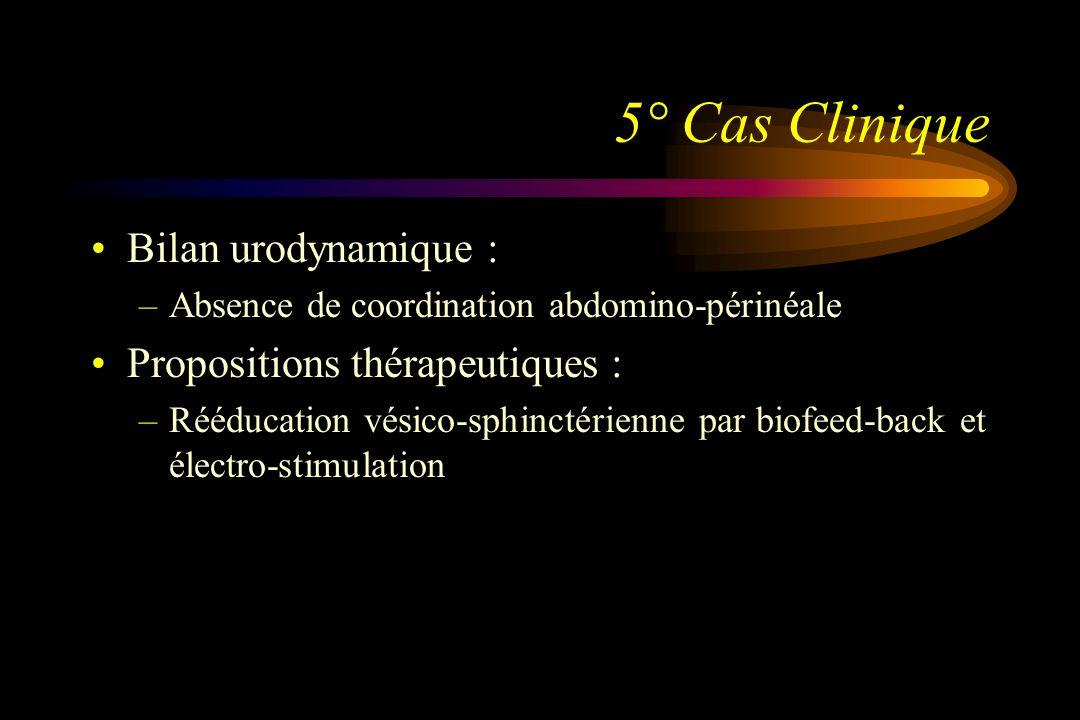 5° Cas Clinique Bilan urodynamique : Propositions thérapeutiques :