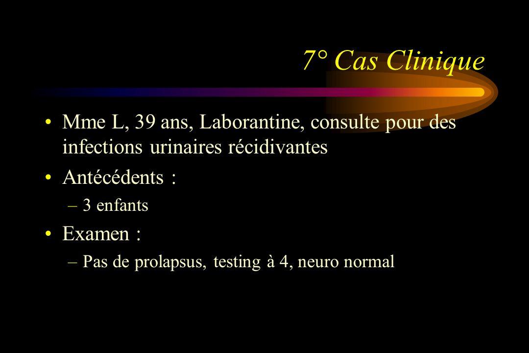 7° Cas Clinique Mme L, 39 ans, Laborantine, consulte pour des infections urinaires récidivantes. Antécédents :