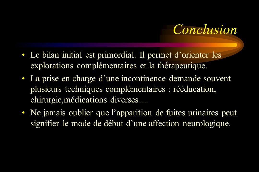 ConclusionLe bilan initial est primordial. Il permet d'orienter les explorations complémentaires et la thérapeutique.
