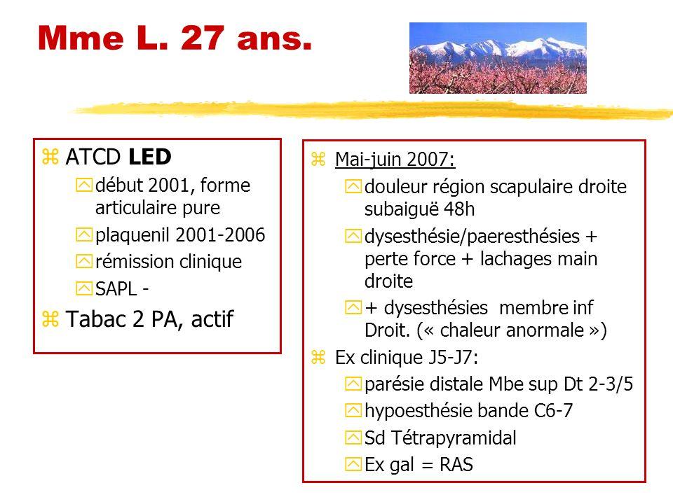 Mme L. 27 ans. ATCD LED Tabac 2 PA, actif Mai-juin 2007: