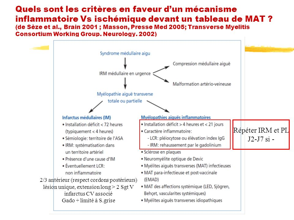 Quels sont les critères en faveur d'un mécanisme inflammatoire Vs ischémique devant un tableau de MAT (de Sèze et al., Brain 2001 ; Masson, Presse Med 2005; Transverse Myelitis Consortium Working Group. Neurology. 2002)