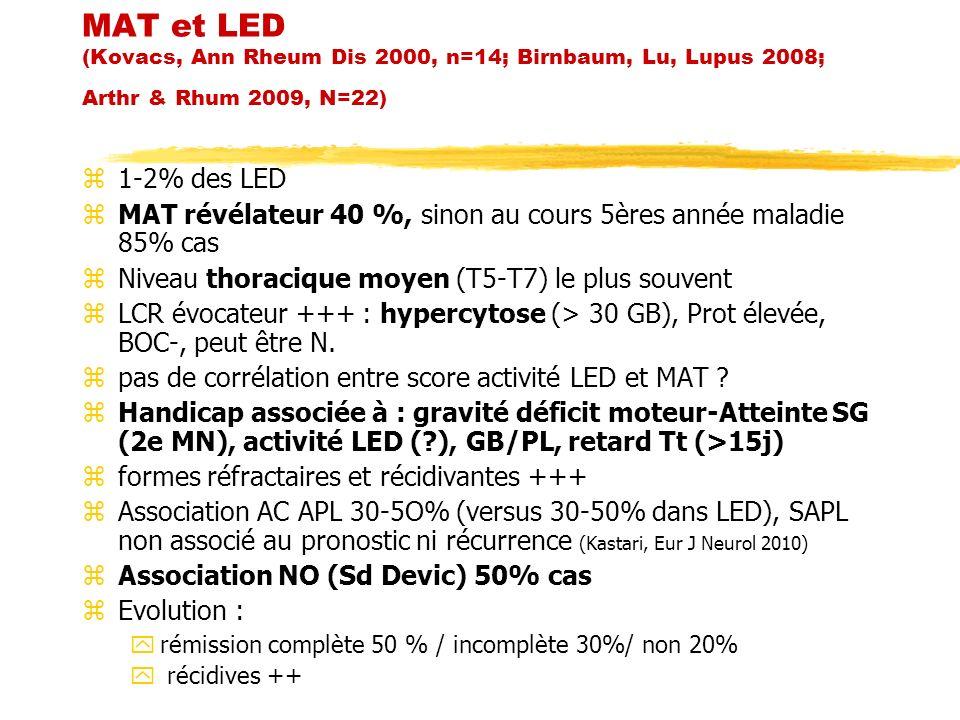 MAT et LED (Kovacs, Ann Rheum Dis 2000, n=14; Birnbaum, Lu, Lupus 2008; Arthr & Rhum 2009, N=22)