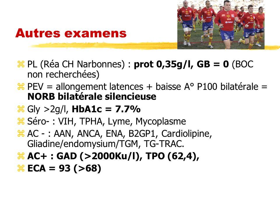 Autres examens PL (Réa CH Narbonnes) : prot 0,35g/l, GB = 0 (BOC non recherchées)