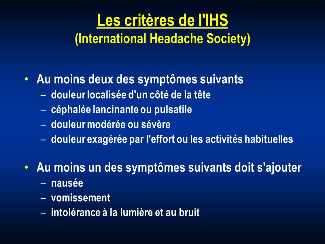 Les critères de l IHS (International Headache Society)