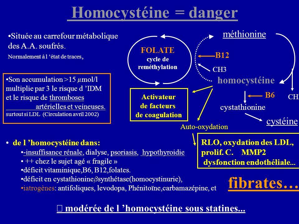  Homocystéine = danger ¯ modérée de l 'homocystéine sous statines...