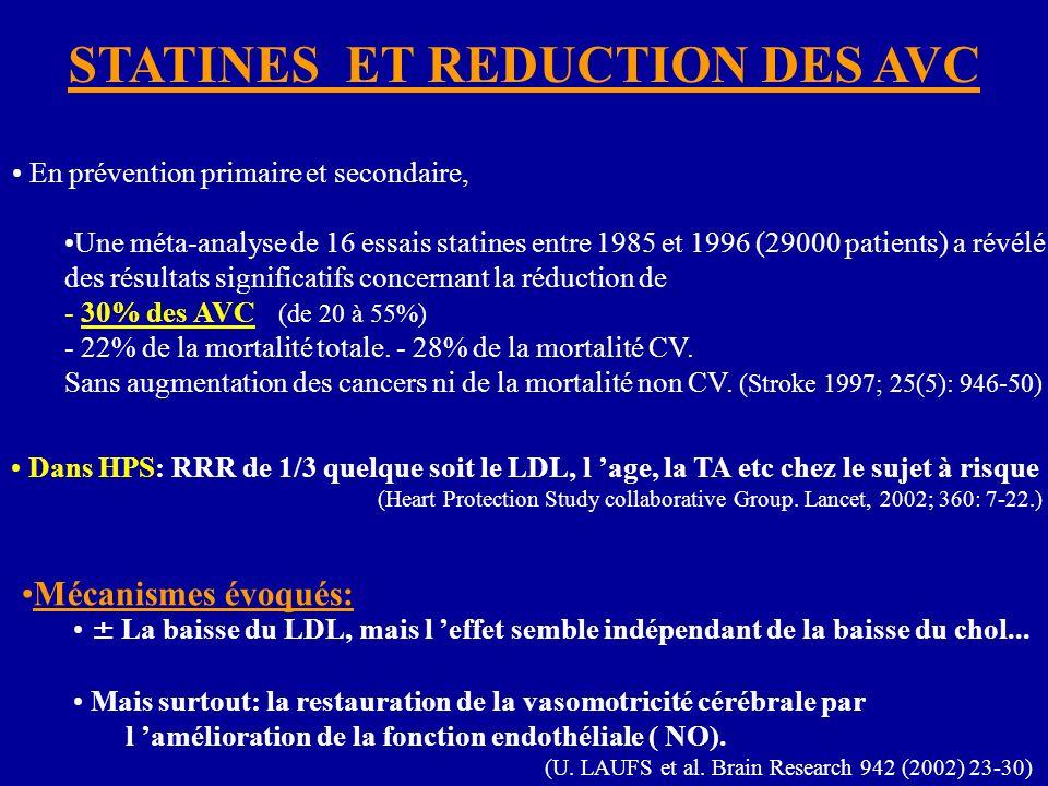 STATINES ET REDUCTION DES AVC