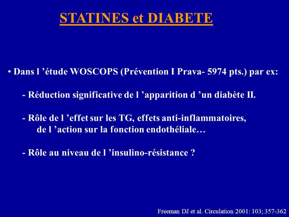 STATINES et DIABETE Dans l 'étude WOSCOPS (Prévention I Prava- 5974 pts.) par ex: - Réduction significative de l 'apparition d 'un diabète II.