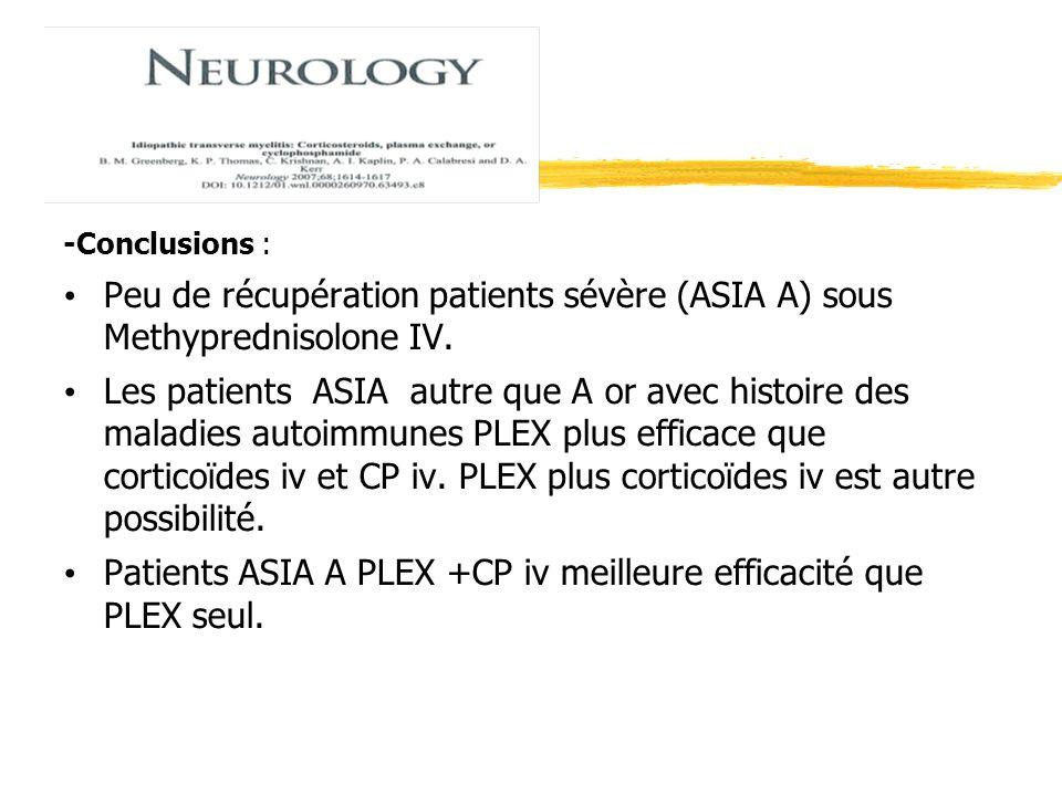 Patients ASIA A PLEX +CP iv meilleure efficacité que PLEX seul.