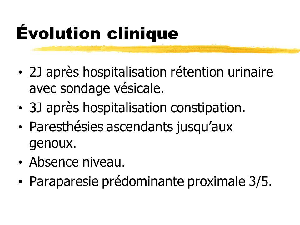 Évolution clinique 2J après hospitalisation rétention urinaire avec sondage vésicale. 3J après hospitalisation constipation.