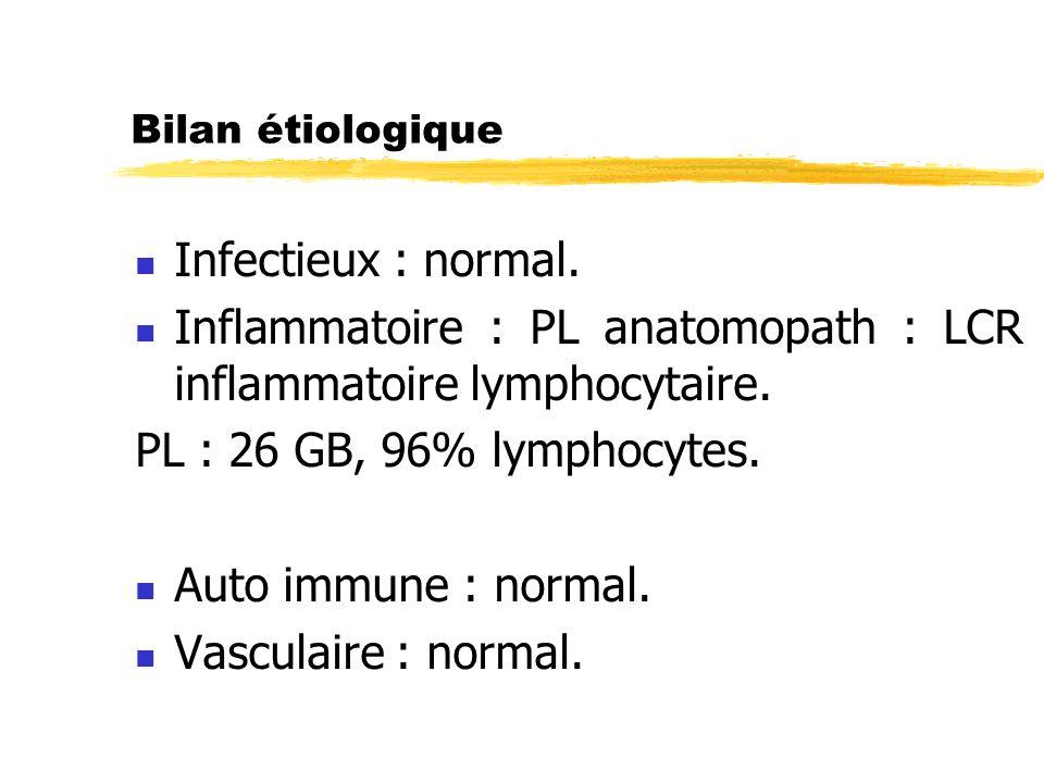 Inflammatoire : PL anatomopath : LCR inflammatoire lymphocytaire.