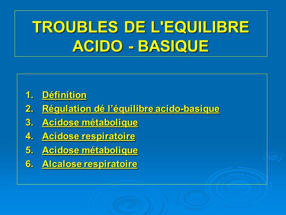 TROUBLES DE L EQUILIBRE ACIDO - BASIQUE