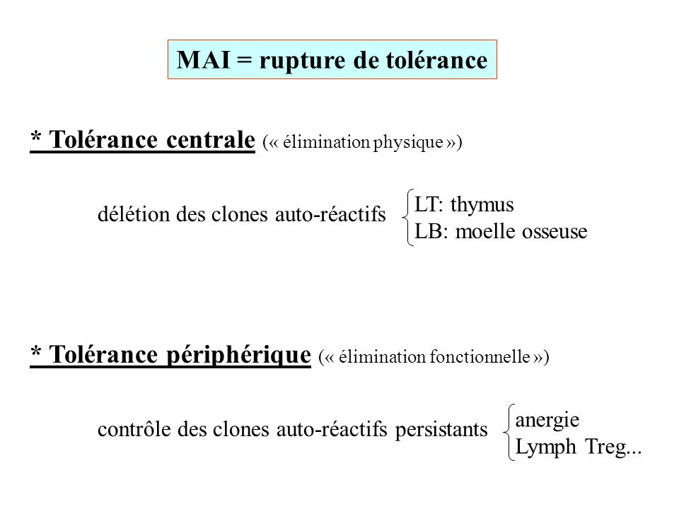 MAI = rupture de tolérance