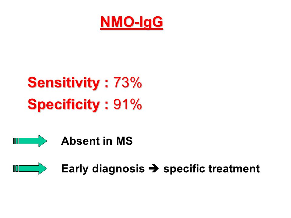 NMO-IgG Sensitivity : 73% Specificity : 91% Absent in MS