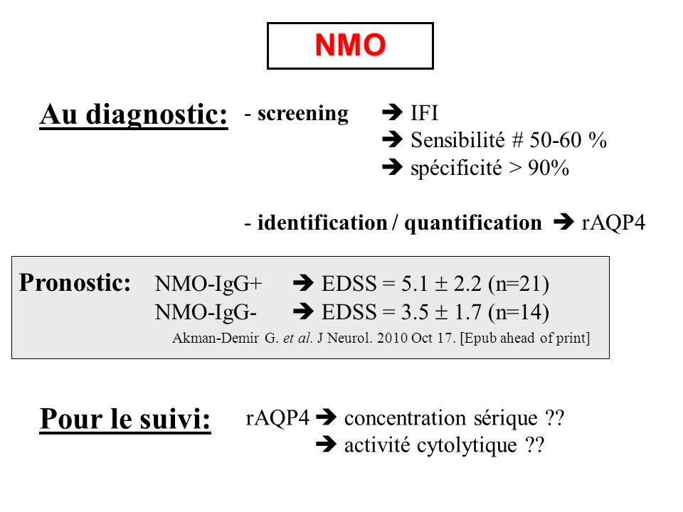 NMO Au diagnostic: Pour le suivi: