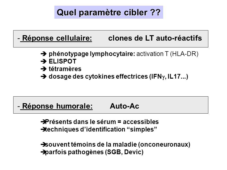 Quel paramètre cibler Réponse cellulaire: clones de LT auto-réactifs.  phénotypage lymphocytaire: activation T (HLA-DR)