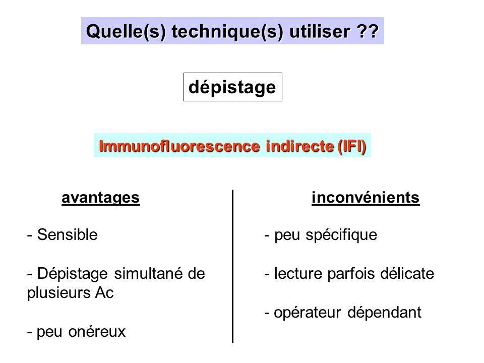 Quelle(s) technique(s) utiliser Immunofluorescence indirecte (IFI)