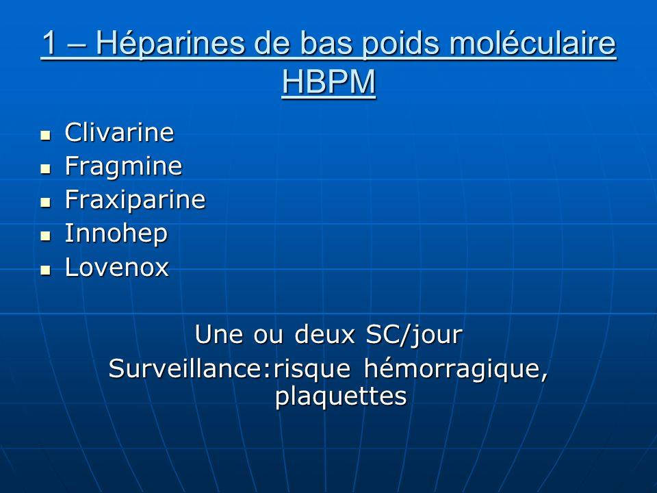 1 – Héparines de bas poids moléculaire HBPM