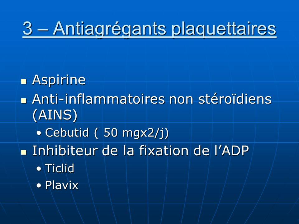 3 – Antiagrégants plaquettaires