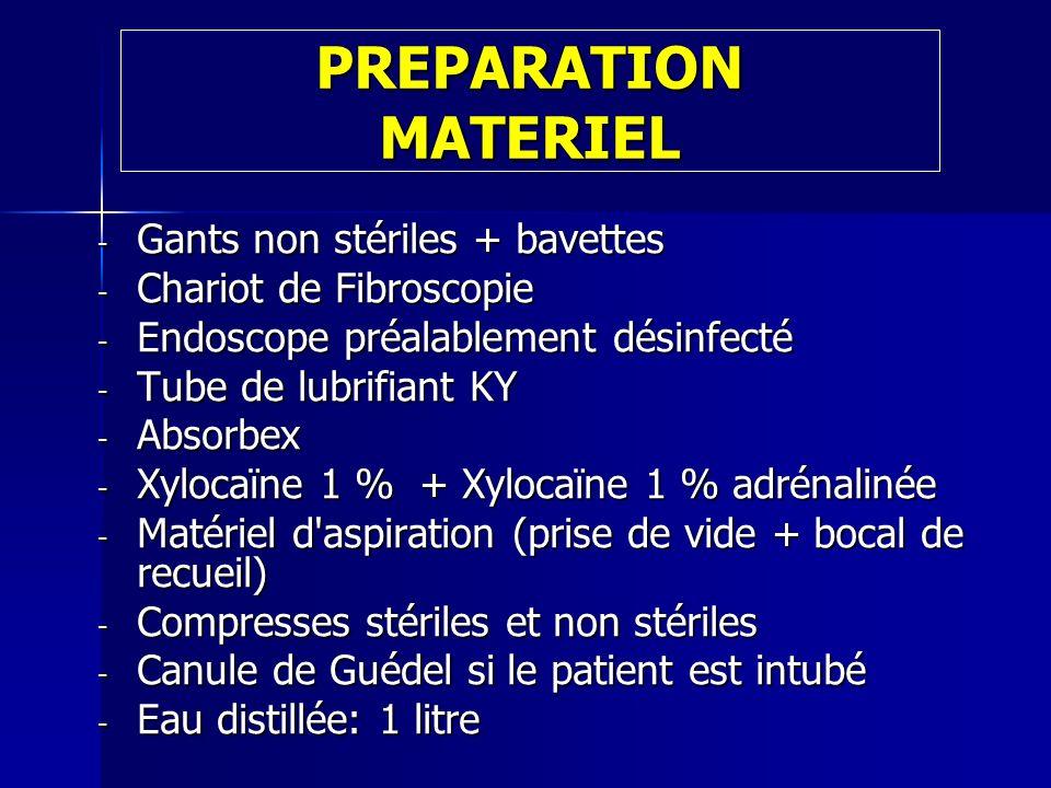 PREPARATION MATERIEL Gants non stériles + bavettes