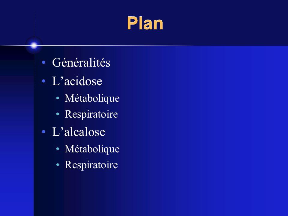 Plan Généralités L'acidose Métabolique Respiratoire L'alcalose