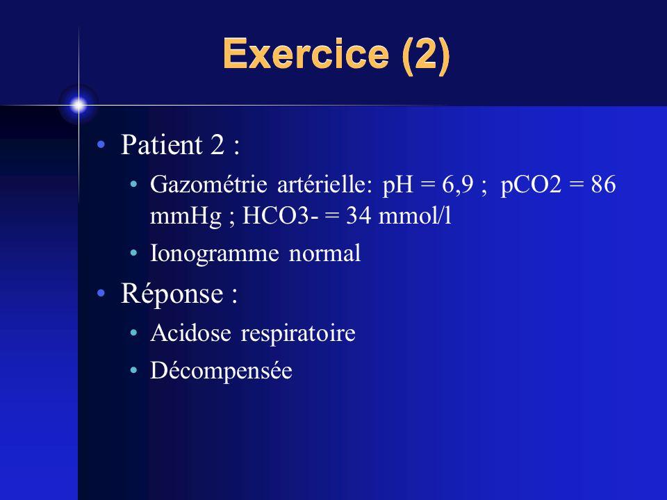 Exercice (2) Patient 2 : Réponse :