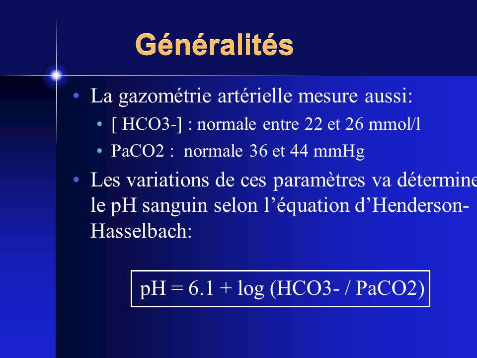 Généralités La gazométrie artérielle mesure aussi:
