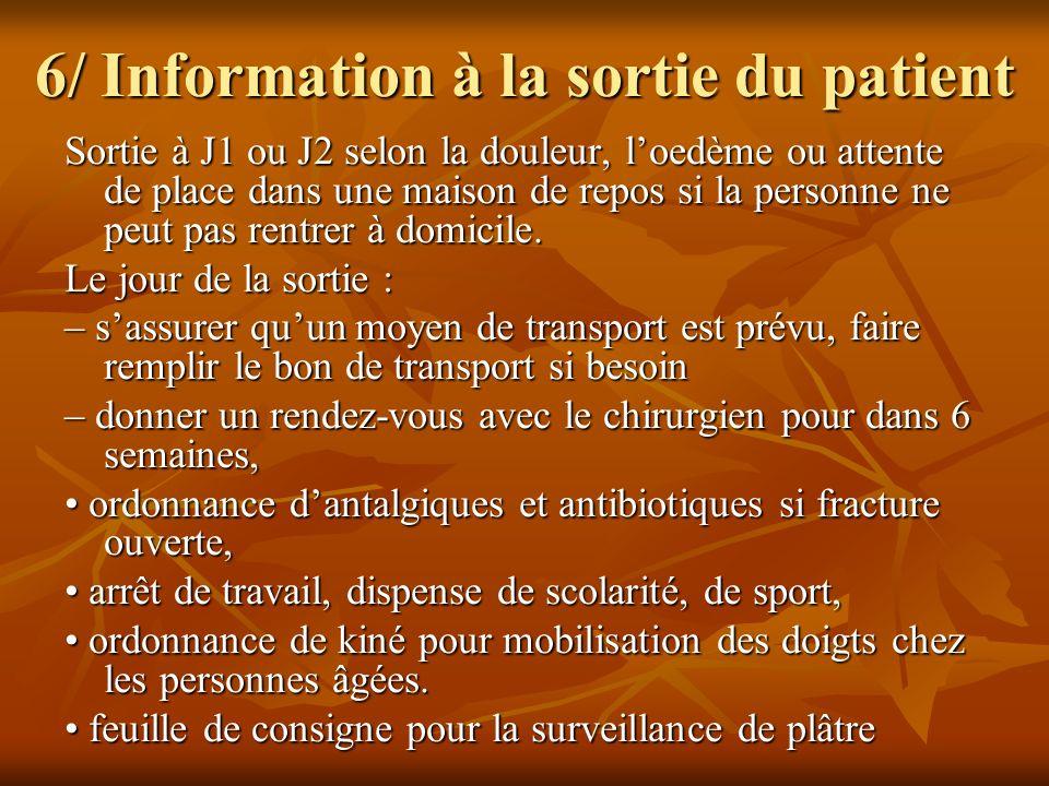 6/ Information à la sortie du patient