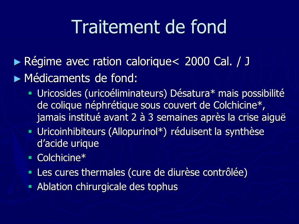 Traitement de fond Régime avec ration calorique< 2000 Cal. / J