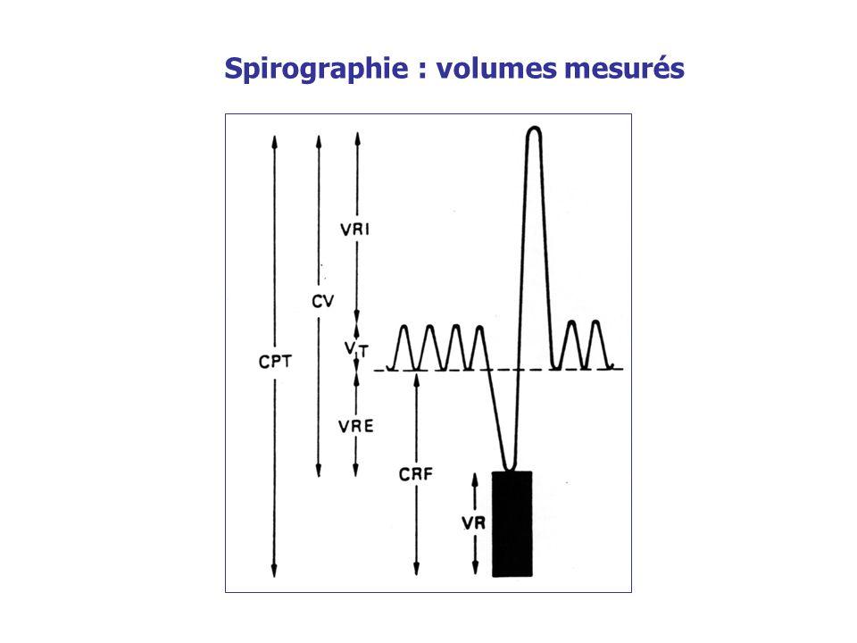 Spirographie : volumes mesurés