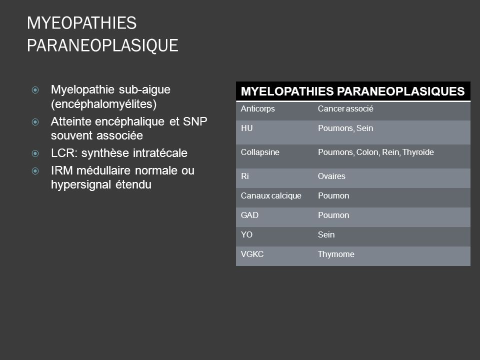 MYEOPATHIES PARANEOPLASIQUE
