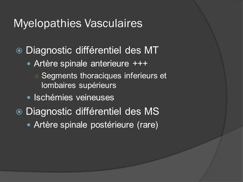 Myelopathies Vasculaires