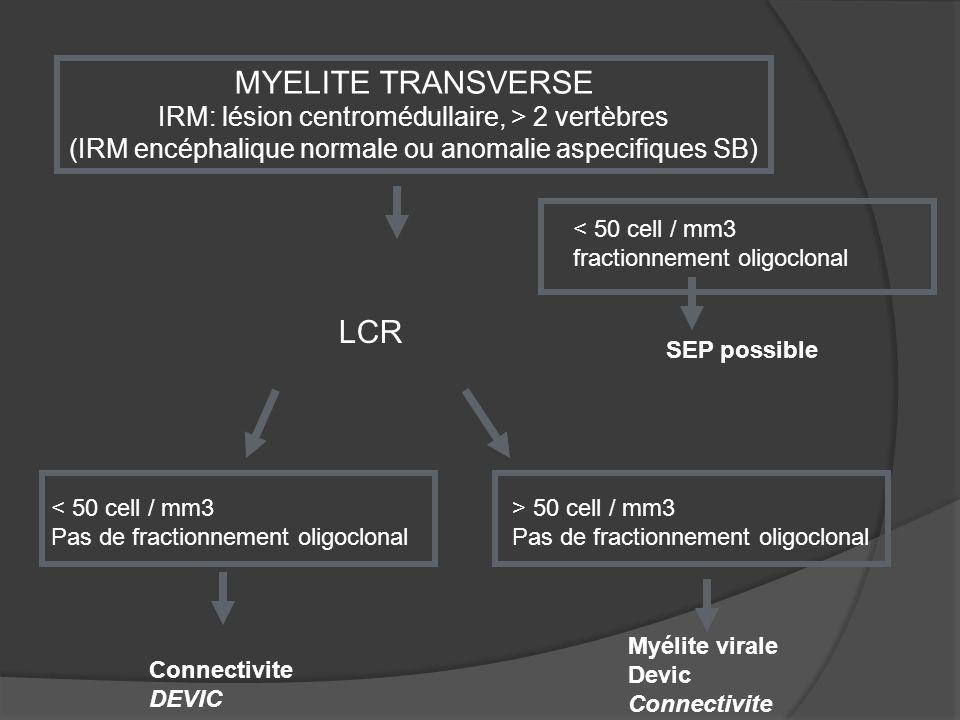 MYELITE TRANSVERSE LCR IRM: lésion centromédullaire, > 2 vertèbres